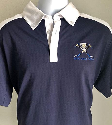 Men's High Goal Polo White/Navy Short Sleeve COOL Shirt