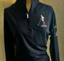 Women's Polo Girl Black Long Sleeve COOL Shirt