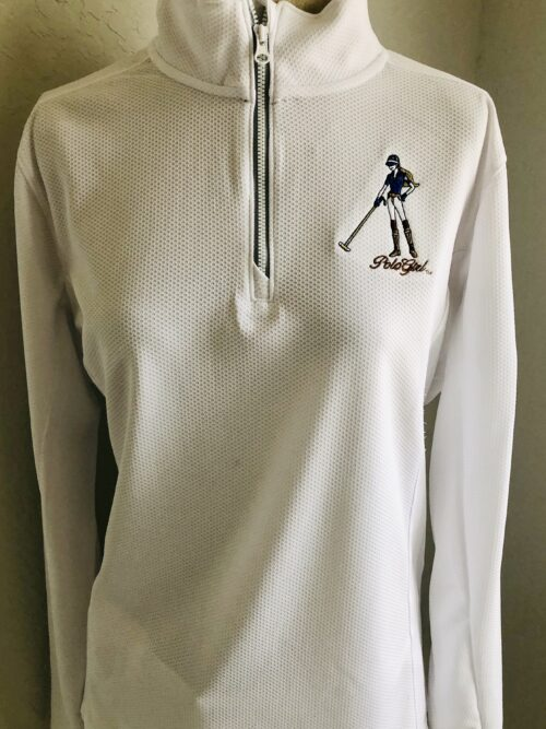 Women's Polo Girl Sport-Wicked Textured 14 Zip Pullover White